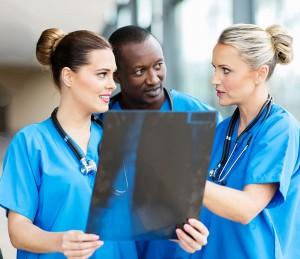 Nurses discussing X-ray